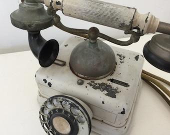 Vintage antique chippy french telephone phone shabby farmhouse