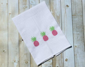 """Embroidered Pineapple Hearts Kitchen Towels 20"""" x 28"""""""