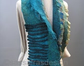 Hand felted, teal blue hand dyed scarf, shawl, OOAK wearable art accessory, women's bohemian fashion accessories, handmade fiber art scarf
