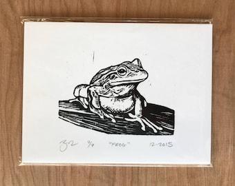 Hand Printed Frog Woodcut