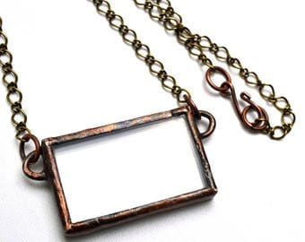 Stained Glass Photo Pendant Necklace Reversible Copper Patina
