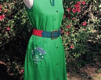 Definition of Cute Green & Navy Cuckoo Clock Frock Dress