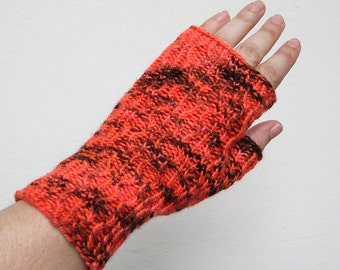 Hand Knit Fingerless Gloves - Campfire Orange - Adult - One Size Fits All