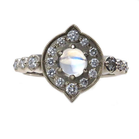 Moonstone and Diamond Halo Engagement Ring - Modern Art Deco 14k Yellow, Rose or Palladium White Gold