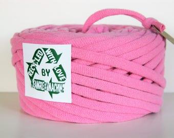 Recycled T-Shirt Yarn, Pink 39 Yrds, T Shirt Yarn, Bulky Tarn