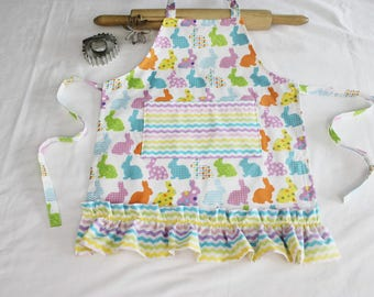Colorful Easter Bunnies Ruffled Child Apron - with pocket and ruffle - ready to ship