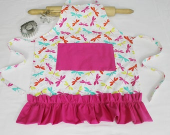Ruffled Colorful Dragonflies Child Apron - with hot pink pocket and ruffle - made to order
