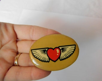 Vintage Concert Pin Pinback with Heart and Wings Badge or Button Dr28