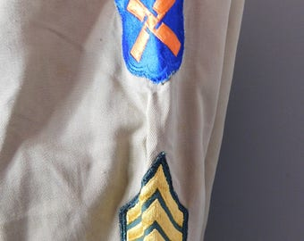 Vintage Late  1950's US Army Khaki Shirt with XII Corps Patch Master Serg