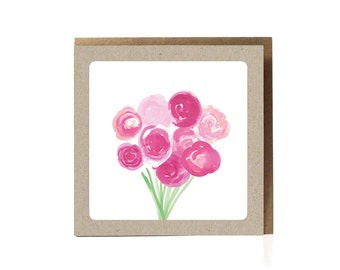 Peony floral card, Peony Bouquet, peonies card, Peonies Greeting Card, Pink Peonies, Peony Bridal Card, Peony Watercolor, watercolor peonies