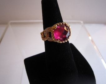 Gold over Sterling Red Glass Ladies Ring  Sz 8