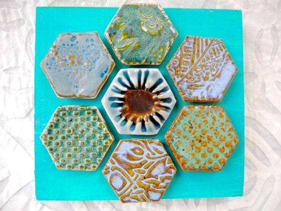 Hexagon Tile wall art, Ceramic Wall Art, India Decor, Boho Art Tile, Hex tile, Turquoise wall art, Lace pottery art