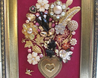 Jeweled Framed Jewelry Flower Bouquet Fuchsia Gold Vintage Valentine