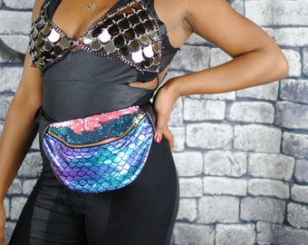 ADELLA iridescent foiled mermaid in purple, sequin lid bumbag fanny pack.