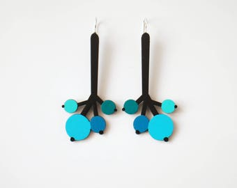 Black and Turquoise Long Plywood floral earrings