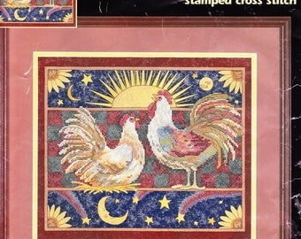 Dimensions Stamped Cross Stitch: Morning Call With Roosters Unused