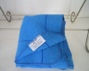 FARIBO Small Lap Blanket Throw Blue Windowpane Plaid Washable Acrylic