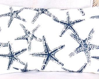 Navy Beach Pillow Decorative Throw Cushion COVER Starfish Nautical Pillow Lumbar Navy Blue Coastal Pillow ALL SIZES Couch Cushion Cottage
