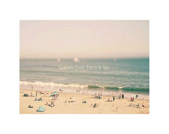 Santa Cruz Photo. Tilt Shift Photography. Beach art. Summer. Ocean. People on beach. Pastel. Mint. Pink. Girly. beach home decor