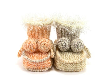 Hand Knitted Baby Booties - Beige and Orange, 0 - 3 months