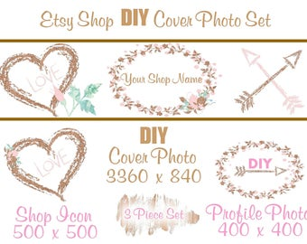 Etsy Shop Banner New Size Cover Photo Set DIY Add Your Shop Name Adorable Pink And Gold Arrows Instant Download
