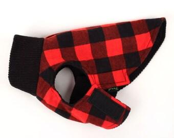 SALE XXS Dog Coat Lined buffalo plaid turtle neck Dog Jacket in black and red