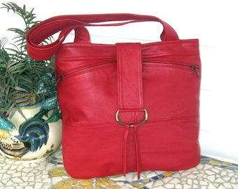 Recycled Leather Handbag Tote in Dark Red - Upcycled Leather