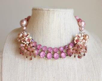 Pink Flower Necklace Vintage Rhinestone floral Up cycled Repurposed Assemblage OOAK statement bib Enamel Pearl clip on earring Blush Peach