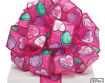 "1.5"" wired ribbon, Candy Hearts, Valentine Ribbon, Conversation Hearts~Use for Wreath~Wedding~Arrangement-Scrap-booking~Burton and Burton~"