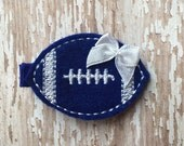 Royal blue and white Felt Football Hair Clip Clippie Babies Toddlers Girls