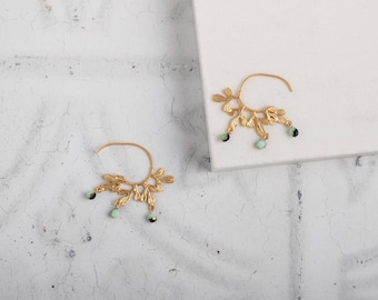 Gold Leaf Hoop Earrings with bead // gold  hoops // leaf hoop earrings // leaf earrings  // modern hoop earring // half hoop //