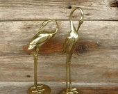 RESERVED  Brass Crane 2 Tall Brass Cranes or Brass Herons Coastal Birds Nautical Beach Decor 1970s Home Decor