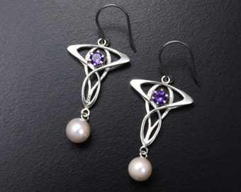 Art Nouveau earrings, silver earrings with amethyst and akoya pearl