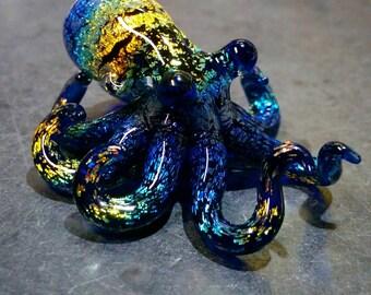 Rainbow Dichroic Octopus pendant Horizontal Striped