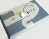 BABY BLUE ELEPHANT (Facing Right) Light Switch Plate Cover Switchplate Nursery Decor Grey