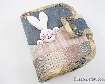 Women Wallet, Handmade Quilt Wallet, Bunny Wallet, Rabbit Wallet, Denim Wallet
