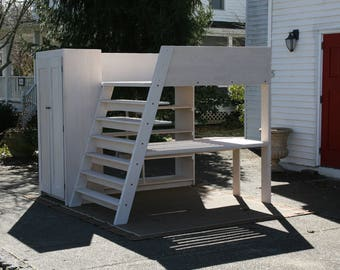 LcSnV01 - Solid Hardwood Loft Bed with desk, shelves, slanted stairs, and closet - natural color standard
