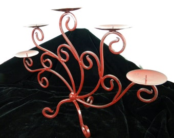 Candelabra Burgundy Red  - Pillar Candle Holder - Refinished Metal - Rustic Wedding - Holiday Table Centerpiece