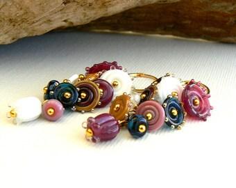 Handmade Lampwork and Gold Vermeil Earrings,Pink and White Cluster Earrings,Evening Earrings,OOAK