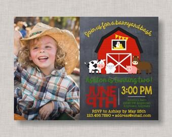 Farm Birthday Invitation, Farm Invitation, Barnyard Invitation, Farm Party, Barnyard Bash Invitation, Chalkboard, 1st Birthday, 2nd Birthday
