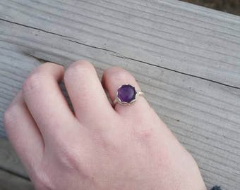 Amethyst Stacker Ring, Purple Amethyst Ring, Sterling Silver, Handmade