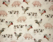 Country Fabric, By The Yard, Farm Animal Fabric, Pig Fabric, Sewing Fabric, ANR Better On The Farm Collection, Rooster Fabric, Quilt Fabric