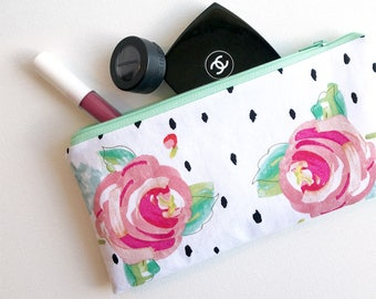 Zippered makeup bag, cosmetic bag, pencil case, purse organizer, zippered pouch, travel case, accessories bag, essentials zipper bag