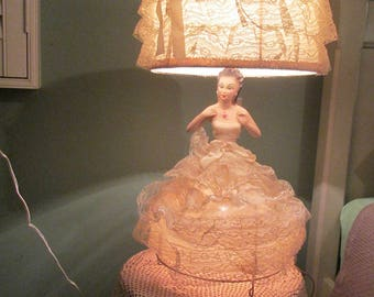 Vintage Rare Doll Lamp / 1950s Spanish Doll Boudoir Two Socket Lamp With Shade