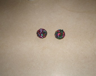 vintage clip on earrings goldtone colorful sequins clusters