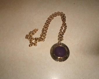 vintage necklace heavy goldtone chain purple suede