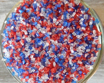 Sprinkles, 3 oz - Red, White and Blue Shiny Sugar Crystals Mix - For Cupcakes - Cake Pops - Cookies - Desserts - Pretzels - Patriotic Cakes