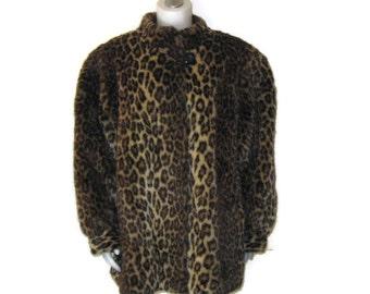 70s Faux Fur Coat Animal Print Coat Faux Leopard Coat 1970s Leopard Coat Made in Canada Stand Up Collar Coat Winter Coat Fur Jacket