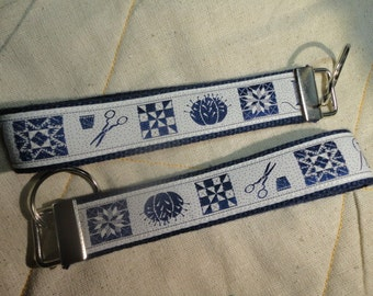 Fun Jacquard Woven Print Ribbon Key Fobs in sewing and quilting patterns.