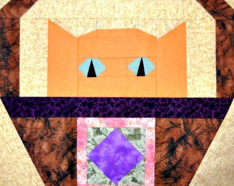Square in a Square Paper Pieced Cat Quilt Block Pattern